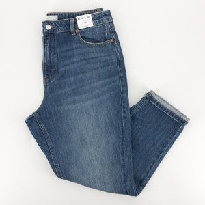 Topshop Blue High Rise Mom Style Jeans 34/30